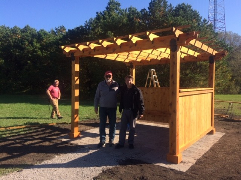 Wes Herring and Carl Cannon at the new pergola